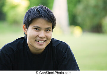 Asian college student - A headshot of an asian college...