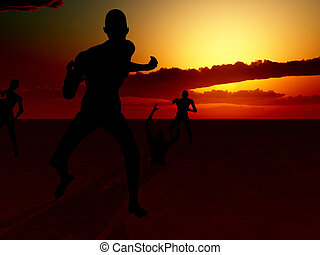 Zombie Scene - Zombies with a sky background, for Halloween.
