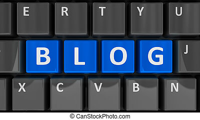 Computer keyboard blog - Blue keys with word blog on the...