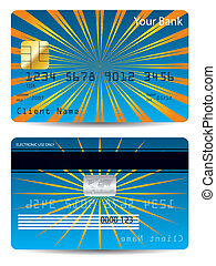 Bursting orange rays on blue bank card design