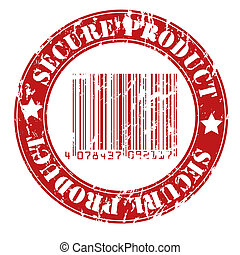 Secure product grungy stamp design with bar code