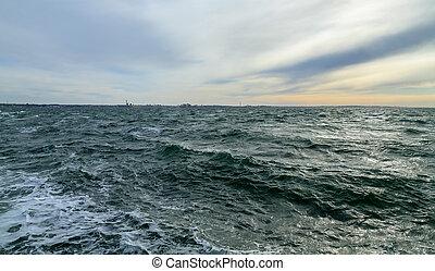 Waves in the Strait of Øresund.