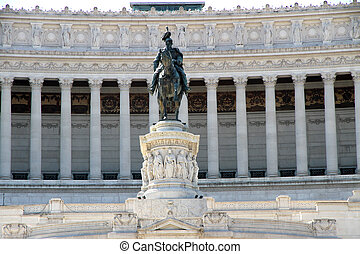 detail of immense white monument called Vittoriano dedicated...