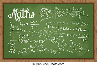 School Black Board With Maths Formulas - Vector...