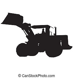 Back Hoe Silhouette Vector - action backhoe vector isolate...