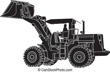 Back Hoe White outline Silhouette V - action Back Hoe...
