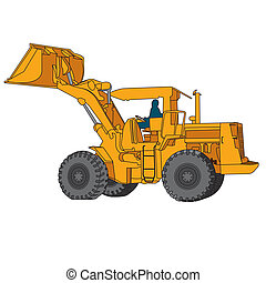 Back Hoe Vector - action Back Hoe isolate on white...