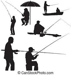 pesca, hombre, silueta, vector