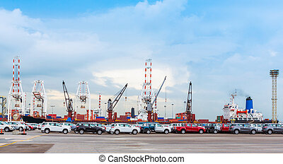 Car at port waiting for load in cargo ships