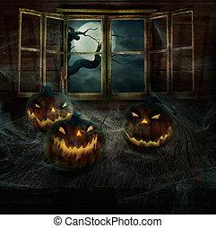 dia das bruxas, desenho, -, abandonado, abóboras