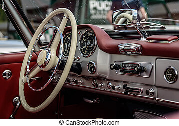 Car - Drivers cockpit of a classic car