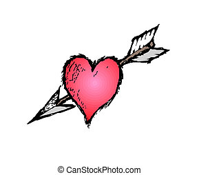 Heart impaled by arrow