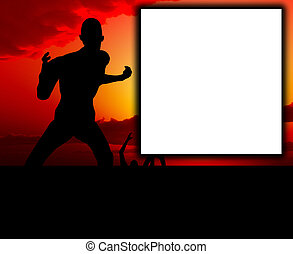Zombie Scene With Blank Sign - A scene with zombies with a...