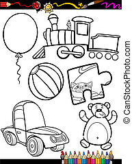 cartoon toys objects coloring page - Coloring Book or Page...