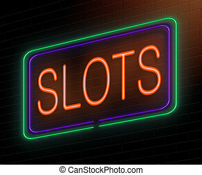 Slots concept. - Illustration depicting an illuminated neon...