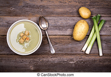 Leek and potato soup vintage - A bowl of leek and potato...