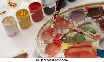 painting palette close-up