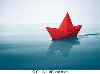 plain sailing - red paper boat sailing on water with waves...