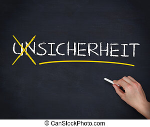 Hand crossing out the german word unsicherheit on a...