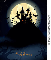 Vector Halloween Background - Vector Illustration of a Scary...