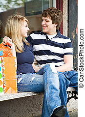 Shopping young caucasian couple - A young caucasian couple...