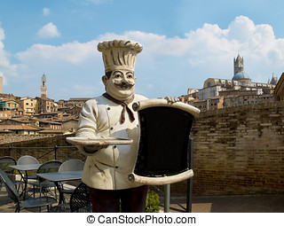 Italian chef with the Sienas panoramic view on his back...