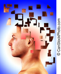 Falling To Bits - Mental health concept of a mans head...