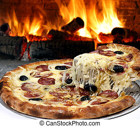 pizza - Pizza baked in wood oven