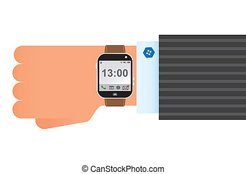 Wristwatch smart clock - on hand wearing smart wrist watch