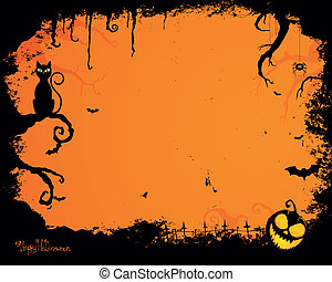 Vector Halloween Background - Vector Illustration of an...