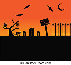 Halloween themed background with cat, bats, moon and graves