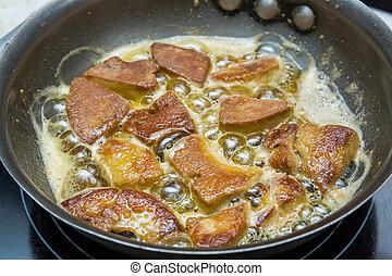 Cozinhar, foie, gras
