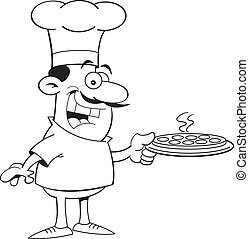 Cartoon Chef Holding a Pizza Black - Black and white...