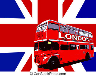 London Bus With UK Flag