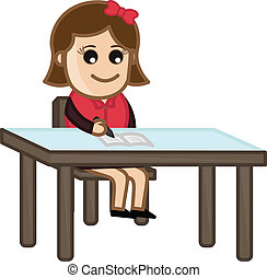 Girl Studying - Cartoon Business Vector Illustrations