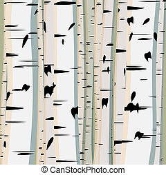 Illustration of trunks birches - Vector illustration of...