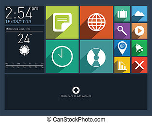 Flat user interface with long shadow icons