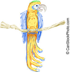 Parrot - Vector Watercolor Parrot yellow with blue wings