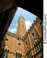 Palazzo Pubblico with Mangia tower in top. Siena, Italy