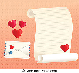 Love Letter Scroll And Envelope Styles With Hearts - Vector...