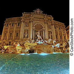 night view of the famous Trevi fountain in Rome - beautiful...