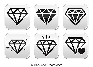 Diamond vector icons set - Jewelery, diamond grey square...