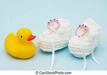Baby Booties - Baby booties with baby bracelet and rubber...