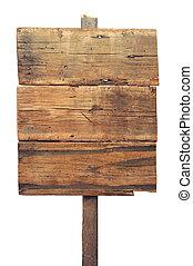 老, 木制, 簽署, 被隔离, 簽署, 木頭, 白色, 板條