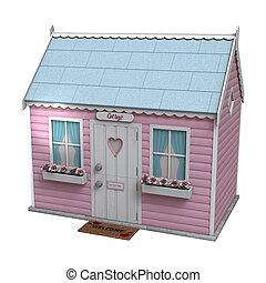 Pink Fairy Cottage - 3D digital render of a little pink...