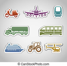 flat retro color stickers - set six