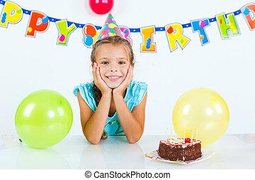 torta, ragazza, compleanno