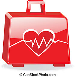 First aid kit with cardiogram isolated EPS10