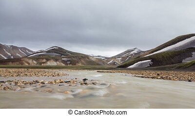 Landmannalaugar, Iceland - Loop-ready long exposure of river...
