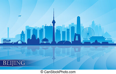 Beijing city skyline detailed silhouette